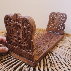 Vintage Carved Teak Wood Expandable Book Rack